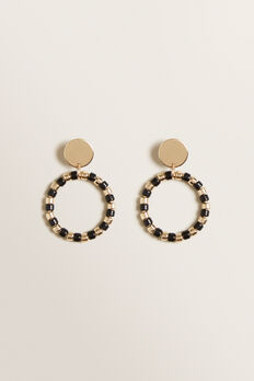 Beaded Contrast Earrings  GOLD/BLACK  hi-res