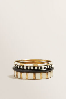 Multi Bangle Set  GOLD/BLACK  hi-res