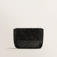 Beaded Fold Over Clutch  BLACK  hi-res