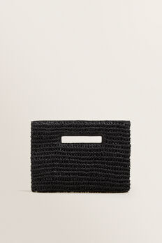 Weave Straw Clutch  BLACK  hi-res