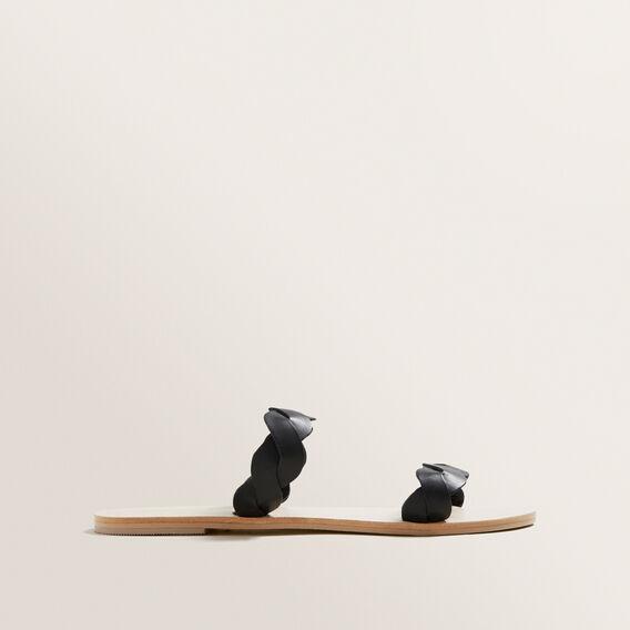 Katie Leather Slide  BLACK  hi-res