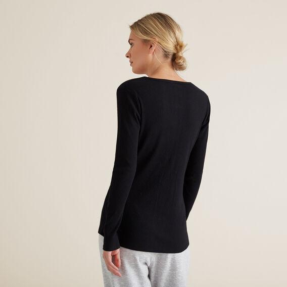 Henley Long Sleeve Top  BLACK  hi-res