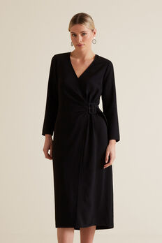 Buckle Wrap Dress  BLACK  hi-res