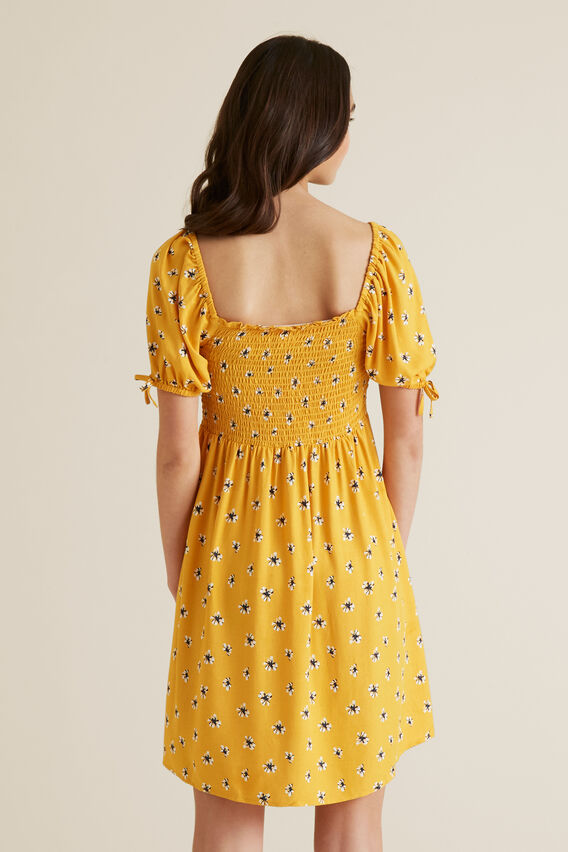 Floral Shirred Dress  SUNSET  hi-res