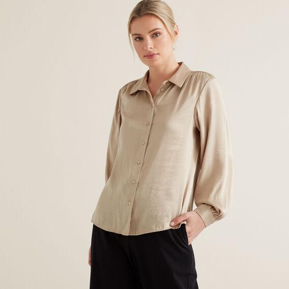 Button Down Soft Shirt  NEUTRAL BEIGE  hi-res