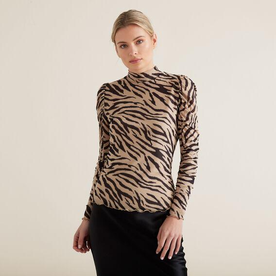 Mesh Zebra Print Top  ZEBRA PRINT  hi-res