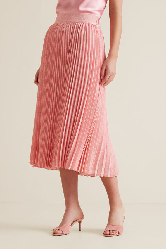 Midi Length Pleat Skirt  PINK OCELOT  hi-res