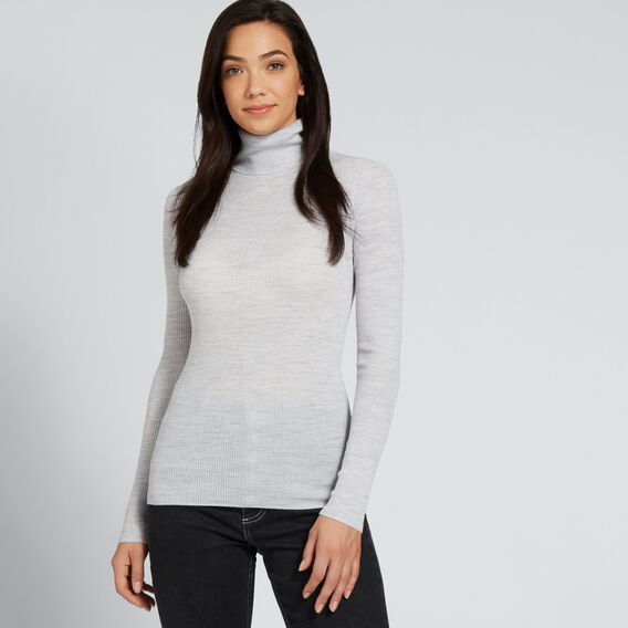 Fitted Rib Roll Neck  LIGHT ASH MARLE  hi-res