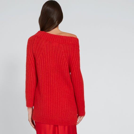 Side Split Knit  FIERY RED  hi-res