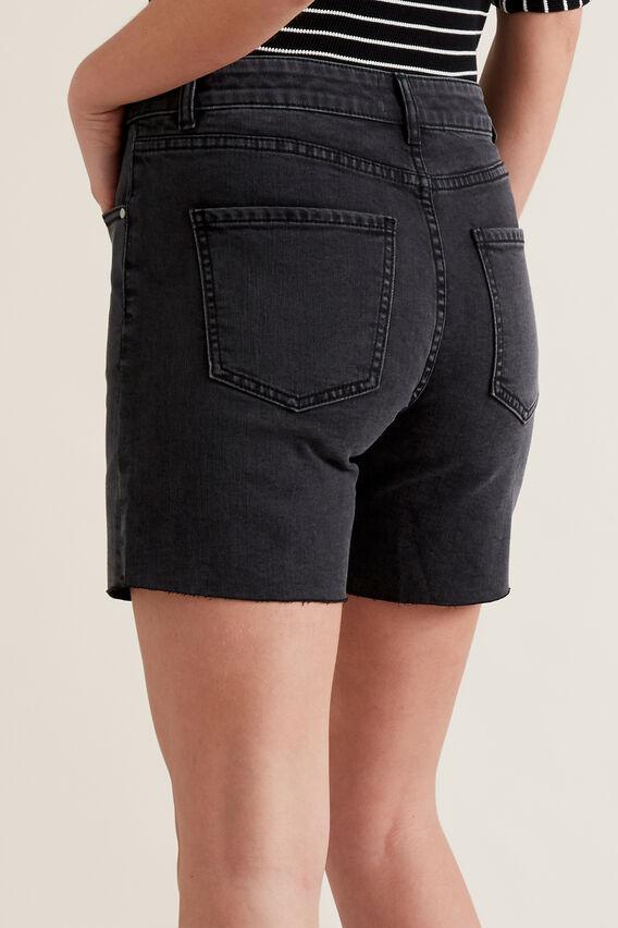 Frayed Denim Short  WASHED BLACK  hi-res