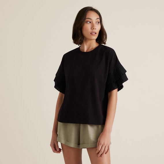 Pleat Sleeve Top  BLACK  hi-res