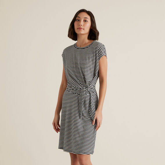 Tie Up Stripe Dress  BLACK STRIPE  hi-res