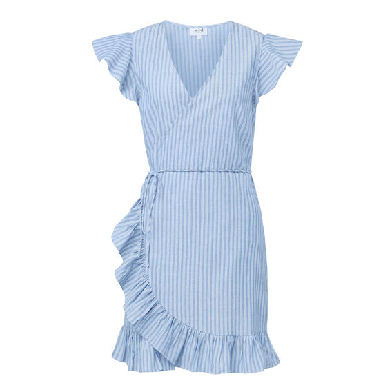 Stripe Frill Wrap Dress  STRIPE  hi-res