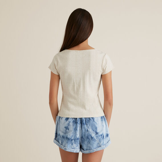 Button Rib Top  OATMEAL  hi-res