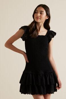 Embroidered Shirred Dress  BLACK  hi-res