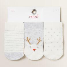 Reindeer Spot 3 Pack Socks  GREY MARLE  hi-res