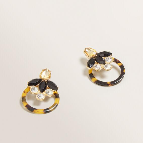 Circle Stone Earrings  TORT  hi-res