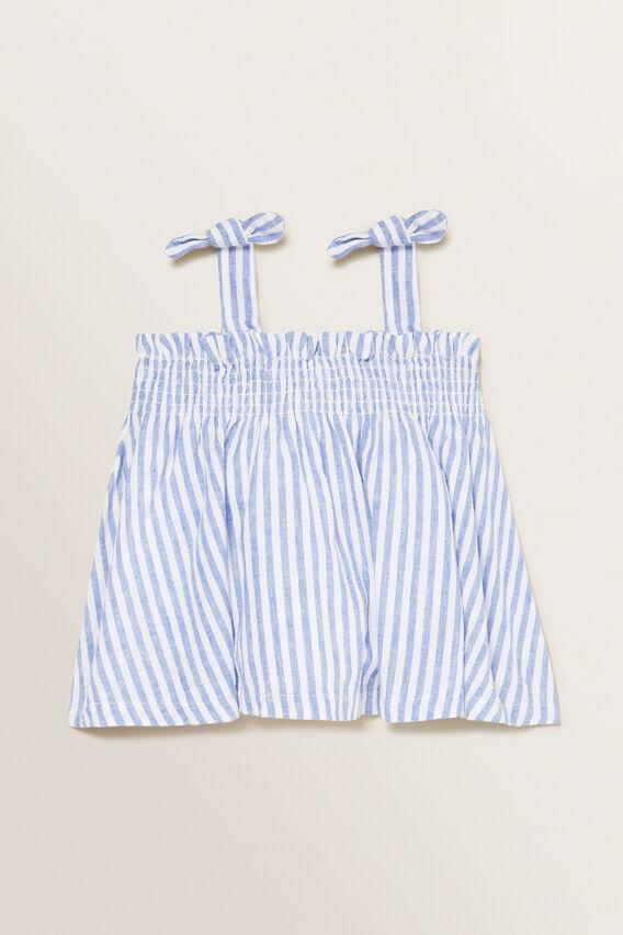 Stripe Linen Top  WHITE/OCEAN BLUE  hi-res