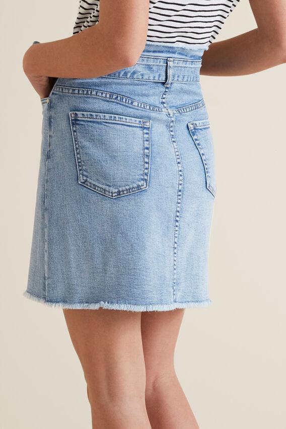 Belted Denim Skirt  LIGHT WASH DENIM  hi-res