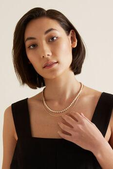 Contrast Bead Necklace Set  GOLD/CREAM  hi-res