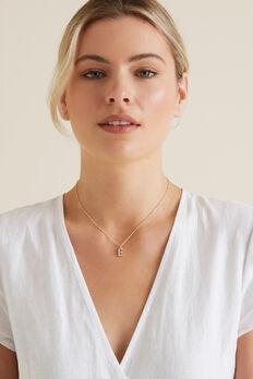 Diamante Initial Necklace  E  hi-res