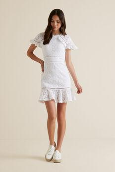 Broderie Dress  WHITE  hi-res