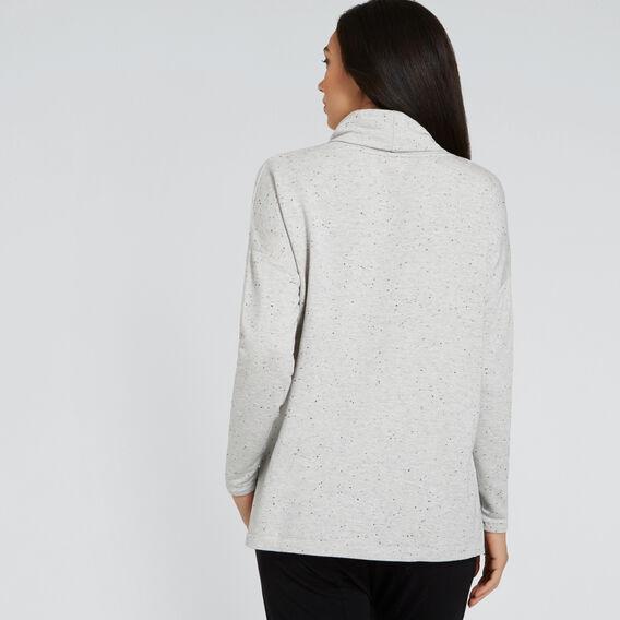 Cowl Neck Flock Sweater  LIGHT ASH MRLE FLECK  hi-res