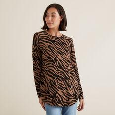 Raglan Zebra Sweater  WALNUT MARLE ZEBRA  hi-res