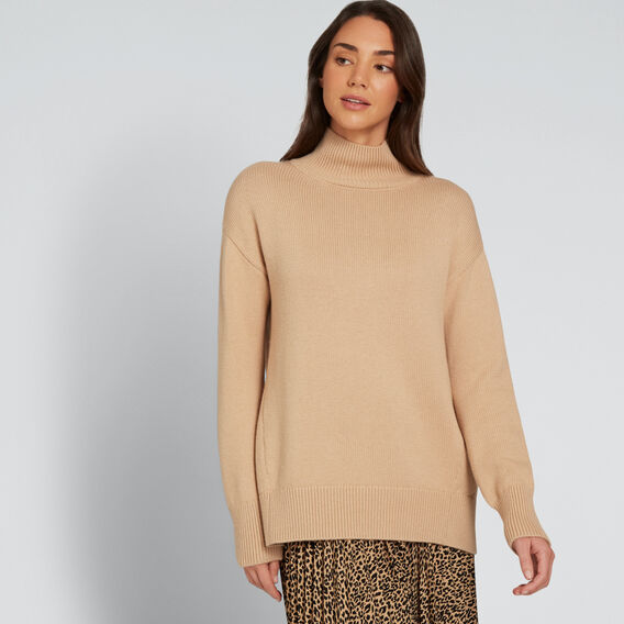 Easy High Neck Sweater  SOFT BEIGE  hi-res