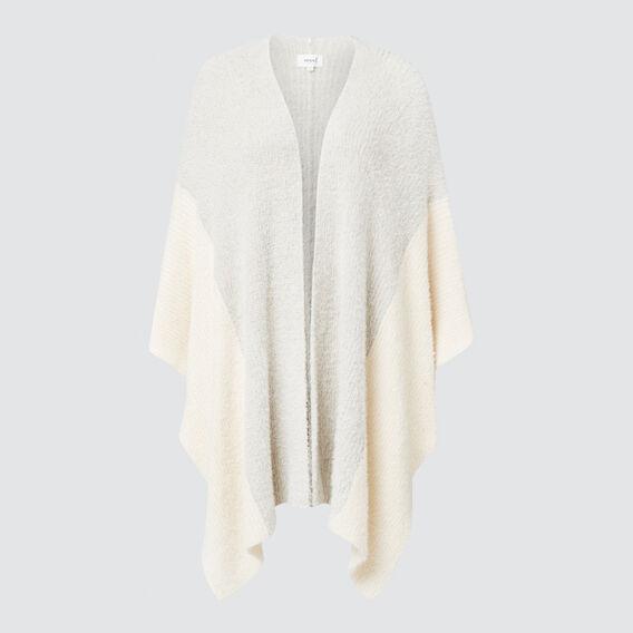 Contrast Sleeve Poncho  GREY/CREAM  hi-res