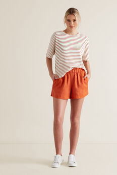 Linen Relaxed Short  SUNBURNT ORANGE  hi-res