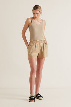 Linen Relaxed Short  WARM TAN  hi-res
