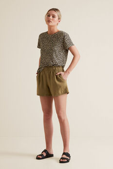 Linen Relaxed Short  RICH MOSS  hi-res