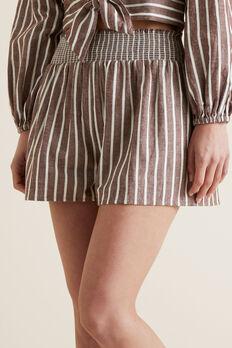 Shirred Stripe Short  RAISIN STRIPE  hi-res