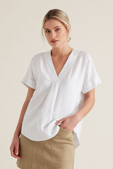 V Neck Linen Top  WHISPER WHITE  hi-res