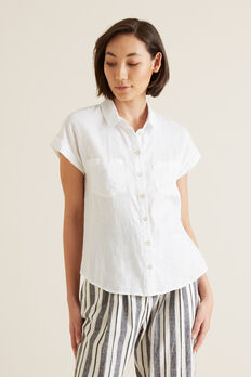 Short Sleeve Linen Shirt  WHISPER WHITE  hi-res