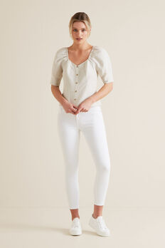 Fitted Puff Sleeve Blouse  TEXTURED DESERT  hi-res
