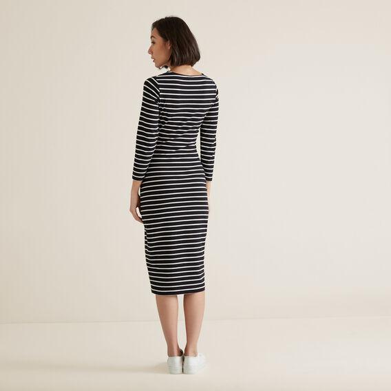 Gathered Jersey Dress  BLACK/FRENCH VANILLA  hi-res