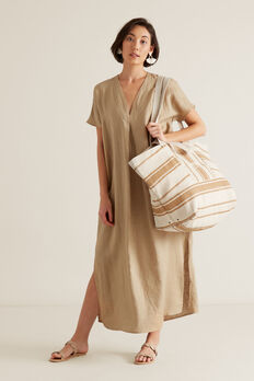 Linen Tie Up Dress  WARM TAN  hi-res