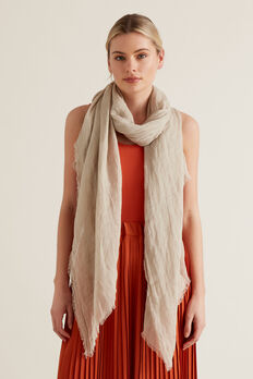 Linen Scarf  NATURAL  hi-res