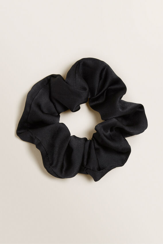 Satin Scrunchie  BLACK  hi-res
