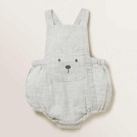 Bear Pocket Romper  GREY MELANGE  hi-res