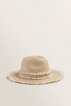 Fray Trim Fedora  NATURAL/WHITE  hi-res