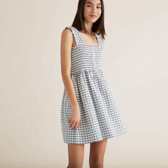 Gingham Shirred Dress  MIDNIGHT  hi-res