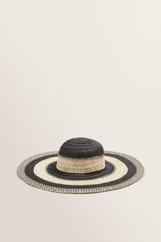 Tonal Stripe Sun Hat  BLACK/NATURAL  hi-res