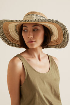 Tonal Stripe Sun Hat  NATURAL/ TAN  hi-res