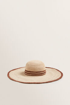 Stripe Band Sunhat  LIGHT CHOCOLATE STRI  hi-res