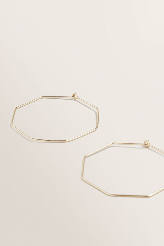 Octagon Hoop Earrings  GOLD  hi-res