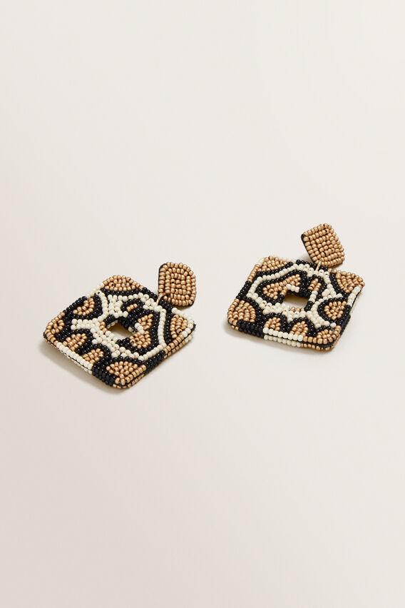 Beaded Leopard Earring  MULTI  hi-res
