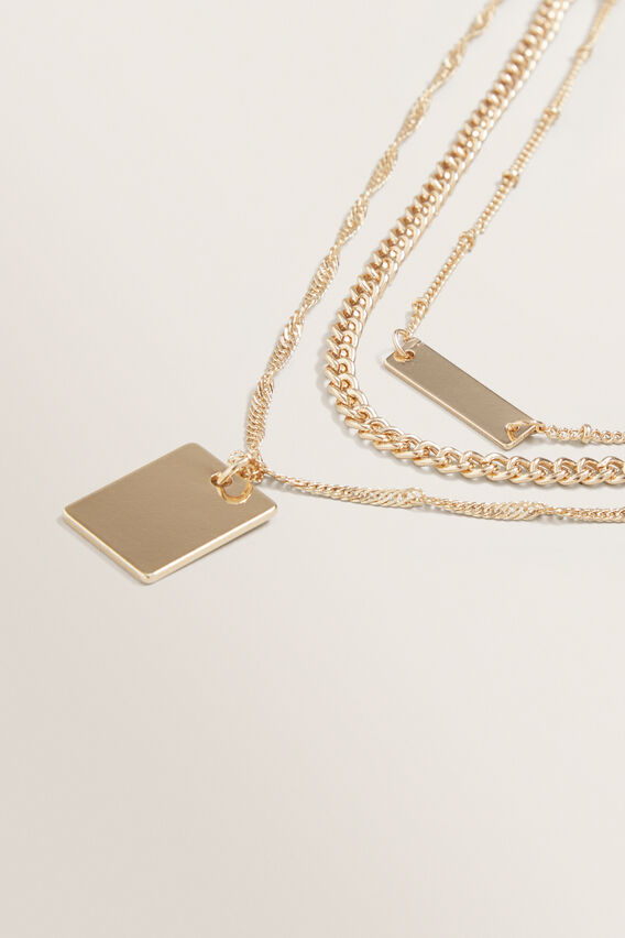 Layered Pendant Necklace  GOLD  hi-res